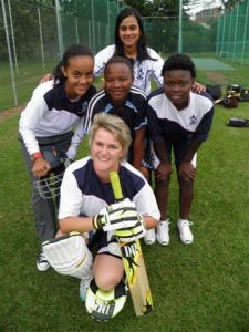 FAIR MAIDENS: (ltr) Alana Marais, Gugu Ngcobo, Pretty Molefe and front, Marlene Steenkamp and back, Yuvi Nirghen, in the nets.