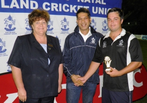 Matthew Hulett of Midlands won the Man-of-the-Match award for his bludgeoning knock of 46 not out against Standard in the KFCT20 Cup. KZNICU CEO Tracy Elliott and president Yunus Bhamjee handed over the awards.