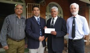 Ltr: Aurora treasurer Bryan Ruprum, KZNICU president Yunus Bhamjee, Roy Bunwarrie and Christopherr Merrett.